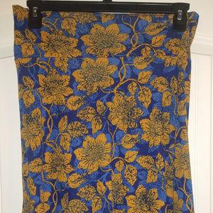 LuLaRoe Azure Skirt; floral blue and gold patter